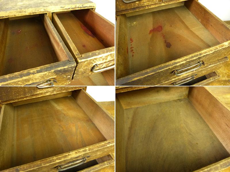 昭和レトロ 古い木味の小引出し 5杯 小箪笥 アンティーク【中古】