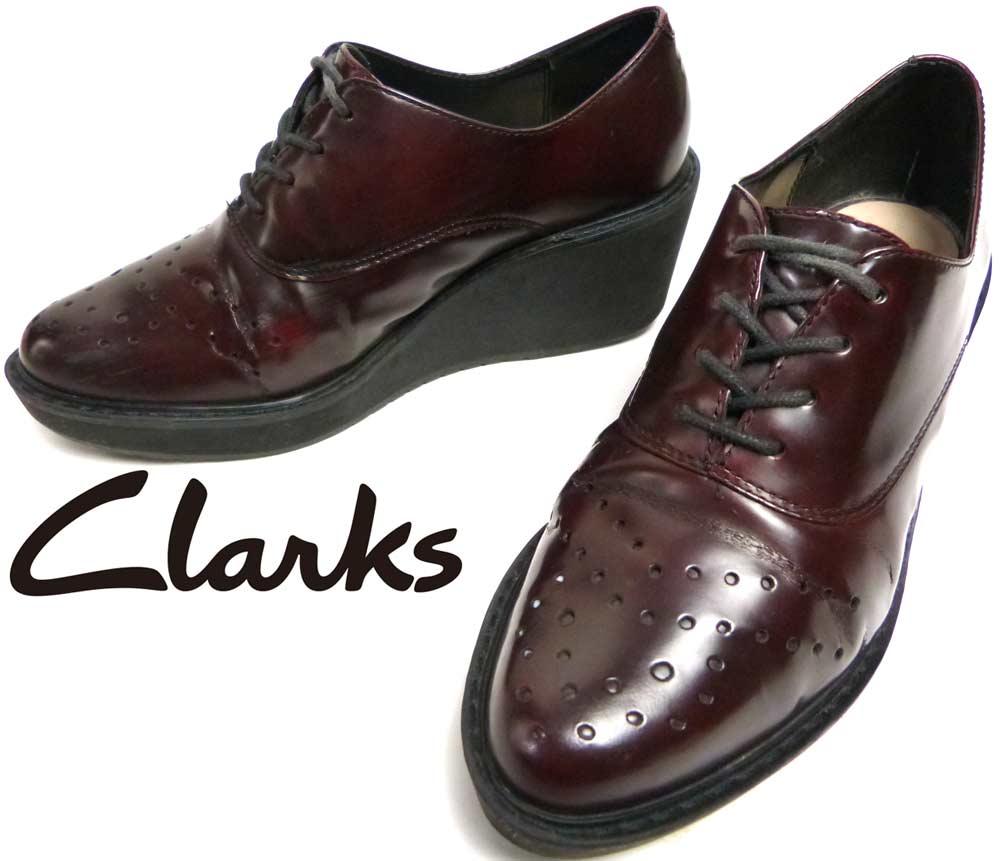 クラークス Clarks GAME OVAL レザーシューズ UK4(23cm相当)(レデイーズ)(日本未発売モデル)【中古】