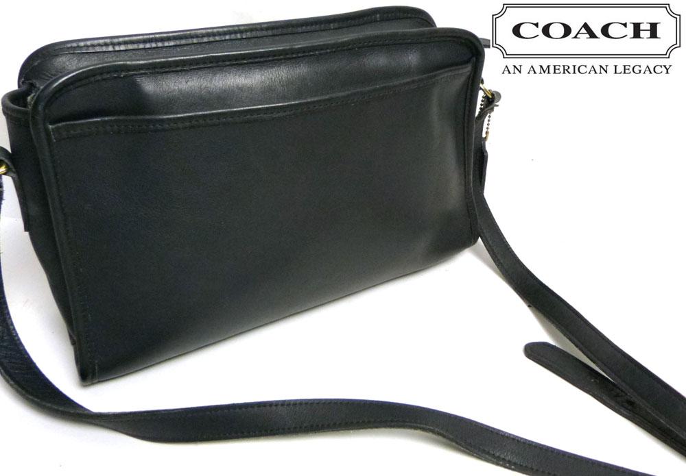 USA製オールドコーチ 本革レザー ショルダーバッグ OLD COACH (黒/ブラック)【中古】【送料無料】