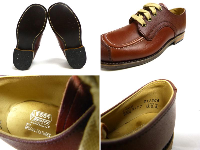 キッズ用 1970s USA製 Foot Traitsレザーシューズ 1 1/2EE(21cm相当)(箱付きデッドストック)【中古】