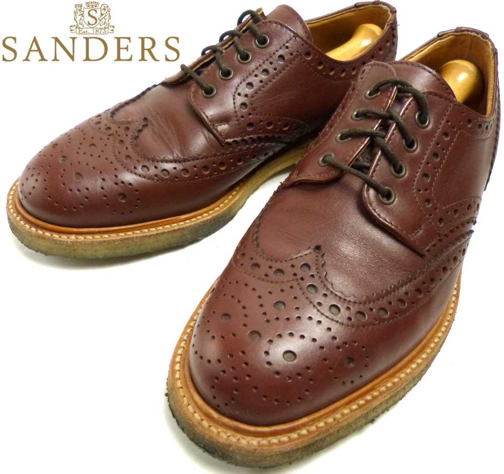 英国製 サンダース SANDERS ウイングチップシューズ US8(26cm相当)(メンズ)【中古】【送料無料】