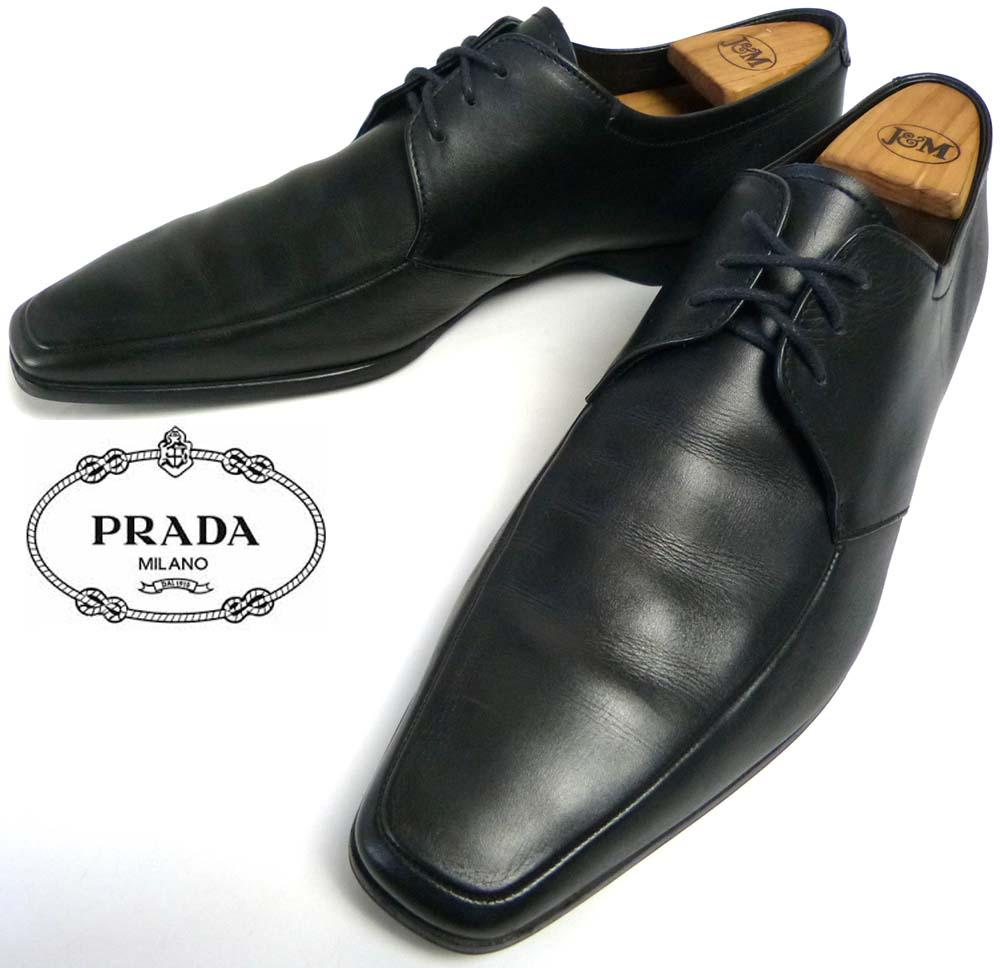 イタリア製 プラダ PRADA Uチップ スクエアトゥシューズ 9(29cm相当)(メンズ)【中古】