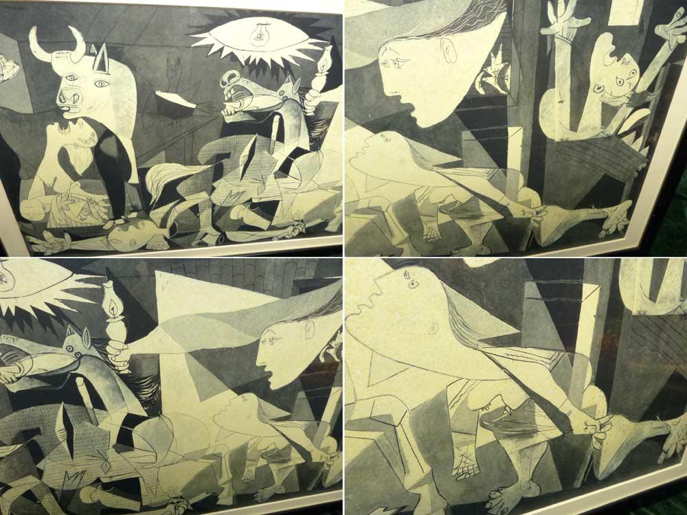 ゲルニカ (パブロ・ピカソ) 印刷物 立体プリント ポスター  額装(835×420mm)【中古】【送料無料】