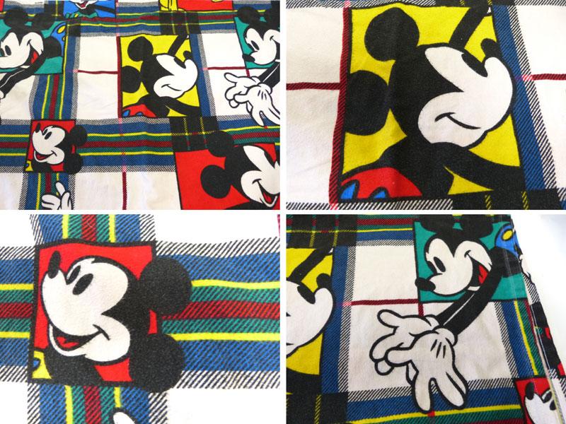 ディズニー ミッキーマウス ビンテージ フラットシーツ(230×164cm)【中古】【リメイク生地】