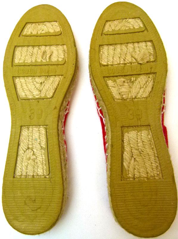 スペイン製エスパドリーユサンダル39(24cm相当)( レディース )(赤)【中古】