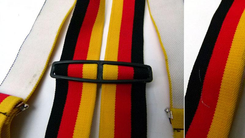 ドイツ国旗配色サスペンダー(メンズ・レディース)【中古】【メール便可】【MEN'S Suspender】