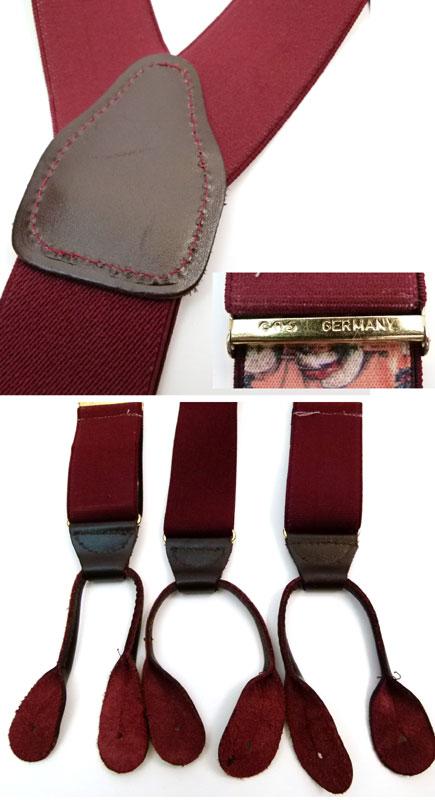 ドイツ製キッズ用ボタンタブサスペンダー(赤紫)【中古】【メール便可】【MEN'S Suspender】