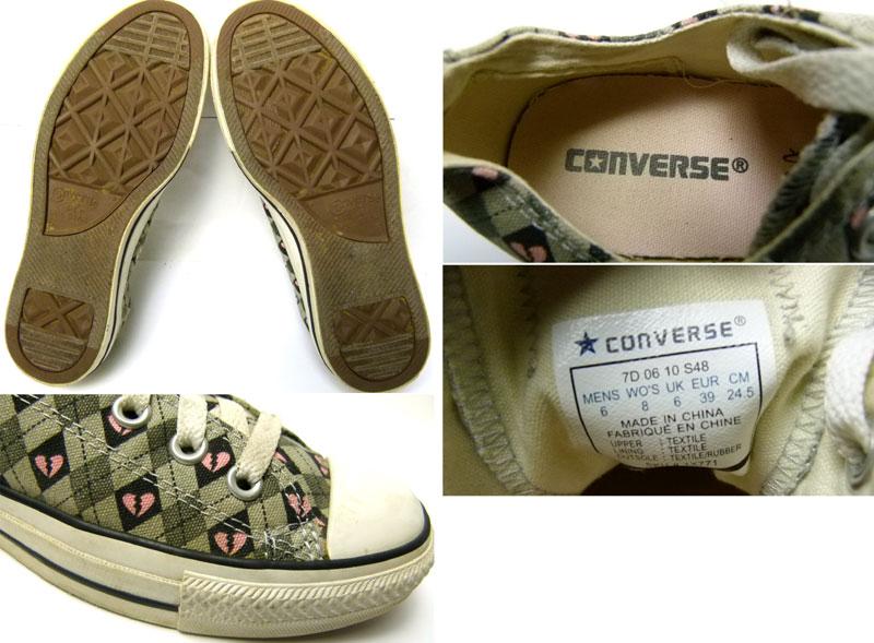 【converse/コンバース】ALLSTAR/オールスターローカット(ハート&チェック柄)スニーカー6(24.5cm相当)( レディース )【中古】