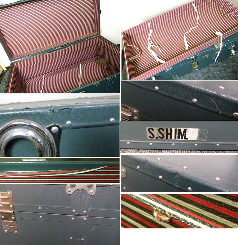 【代引き不可】 ビンテージアルミトランク 船箱 テーブル(赤×白ボーダー)【中古】【送料無料】