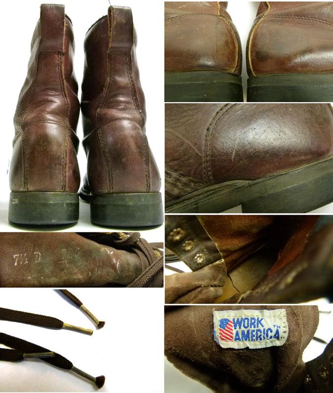 Work America ウォークアメリカ  編み上げワークブーツ 7 1/2D(25.5cm相当)【送料無料】【中古】