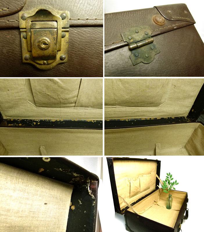 昭和レトロ アンティーク レザートランク オールド スーツケース(濃茶)【中古】