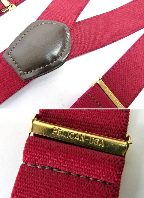 USA製ボタンタブサスペンダー (メンズ・レディース)(赤紫)【中古】【メール便可】