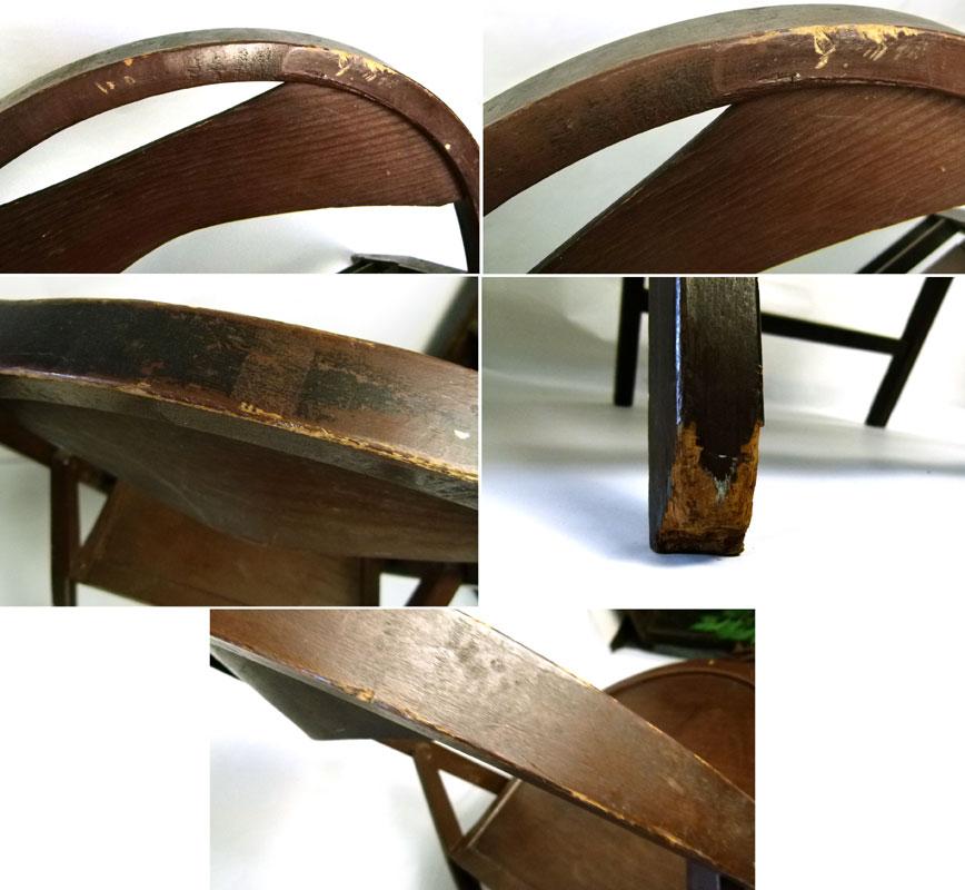 【訳あり】レトロ 木製フォールディングチェア 折りたたみ椅子 イス【中古】