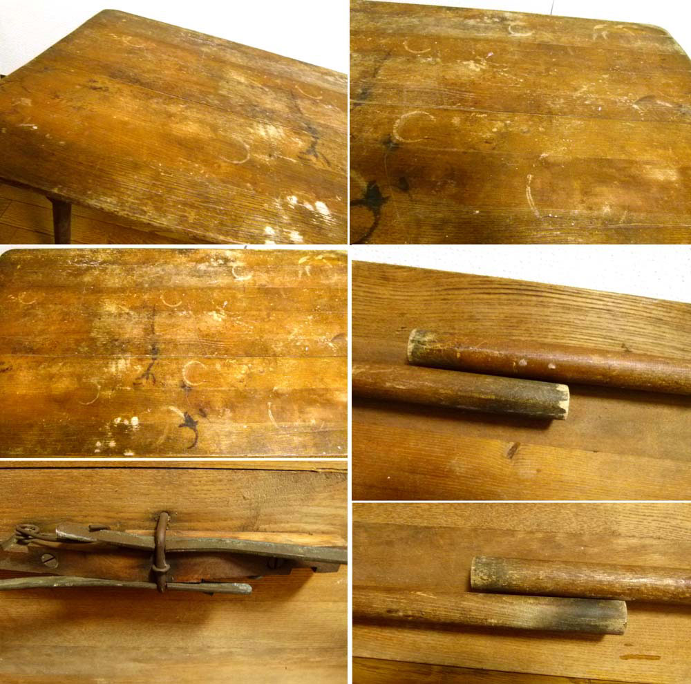 【希少】1890-1930'sアンティーク 折り畳み式 フォールディング 木製テーブル/作業台/ローテーブル USA【中古】【送料無料】