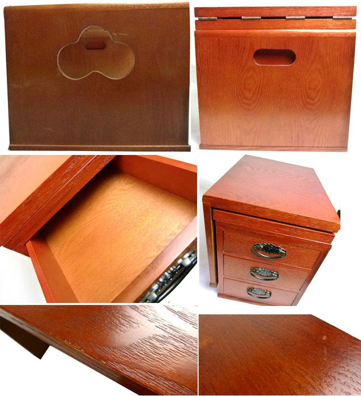 レトロ 折り畳み文机 木製座机 3段引き出し / 作業台【中古】