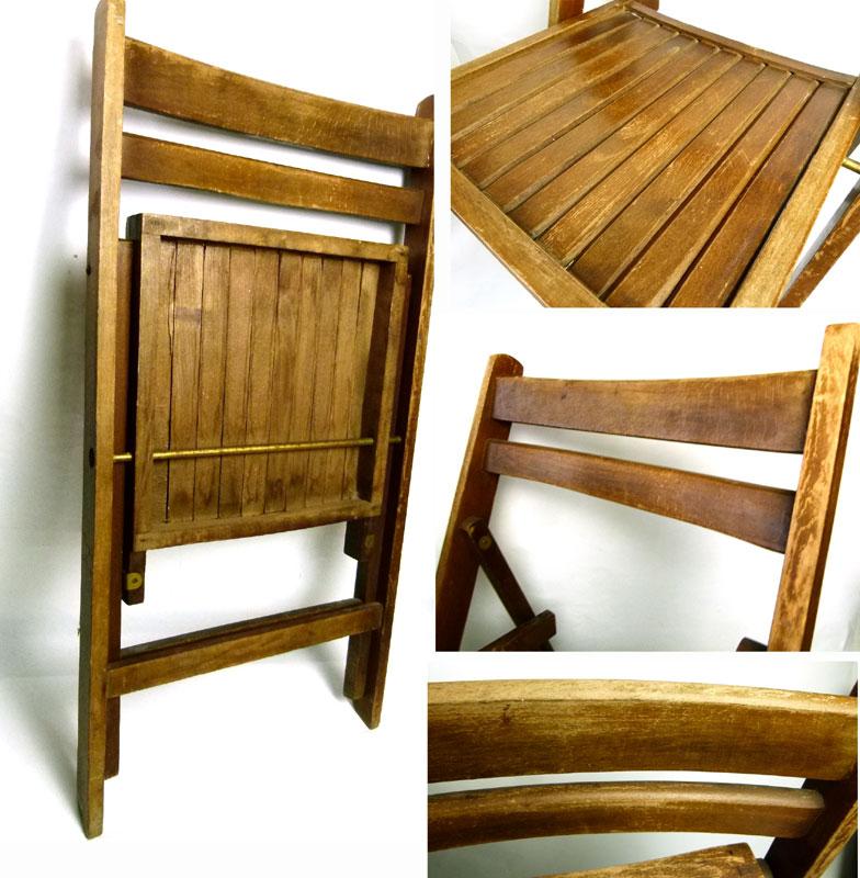1940-60s アンティーク フォールディング木製チェア 折り畳みイス【中古】【送料無料】