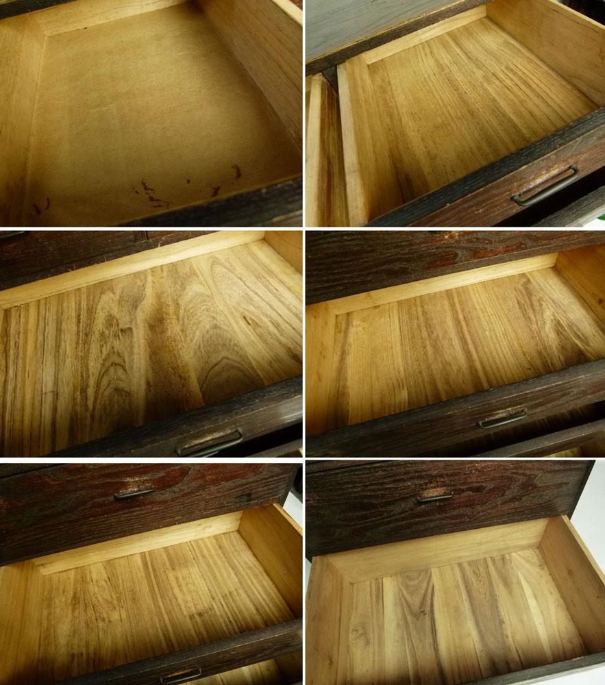 昭和レトロ 小引き出し 古い木味の引き出し6杯 小物収納 小物整理 アンティーク【中古】【送料無料】
