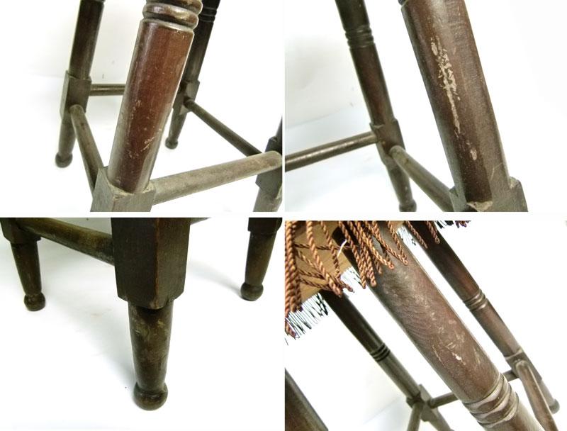 昭和レトロ フリンジ付き 丸椅子 スツール ピアノ椅子 イス【中古】【送料無料】