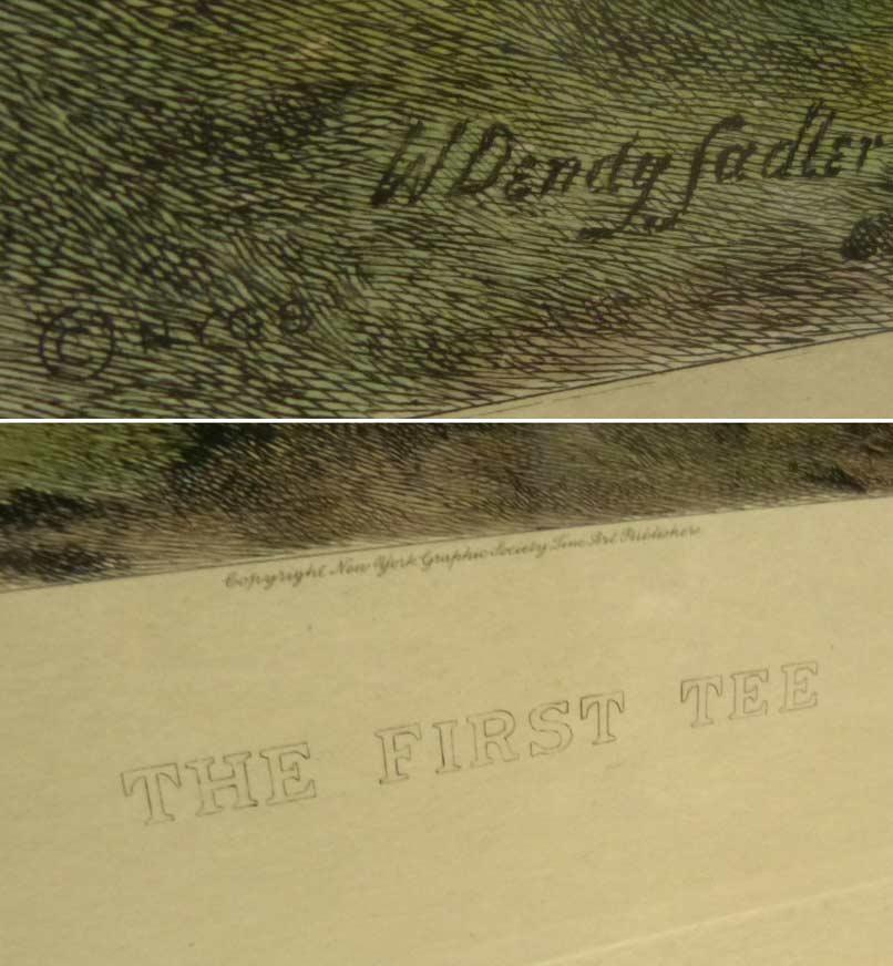 """ヴィンテージ W. Dendy Sadler ウォルター・デンディ・サドラー  """"THE FIRST TEE""""  リトグラフプリント 額装【中古】【送料無料】"""