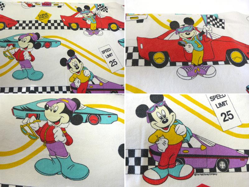 ディズニー ミッキーマウス&カー ビンテージ キャラクター フラットシーツ(235×156cm)【中古】【リメイク素材】