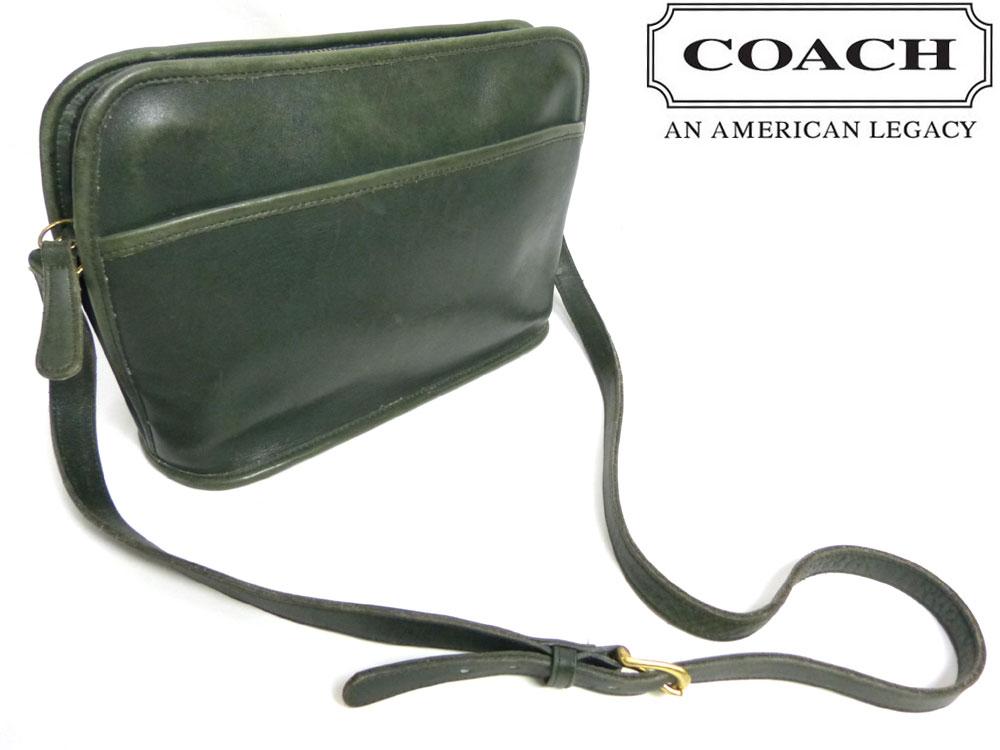 オールドコーチ COACH コーチ 本革 ショルダーバッグ(緑 グリーン)【中古】【送料無料】  USA製