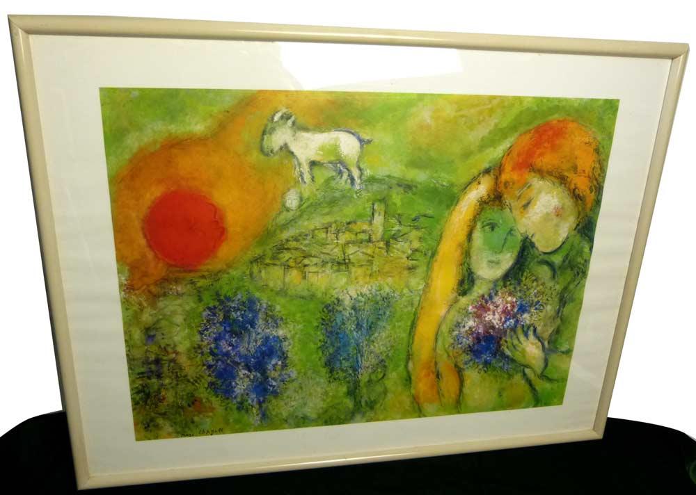 イタリアプリント Marc Chagall マルク シャガール /  ヴァンスの恋人 印刷物 / ポスター 額装【中古】【送料無料】