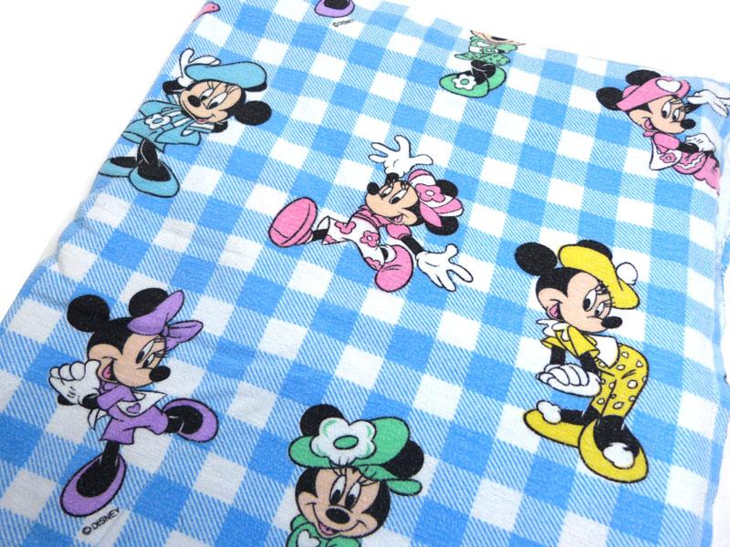 ディズニー ミニーマウス キャラクター ビンテージ フラットシーツ(220×170cm)【中古】【リメイク生地】