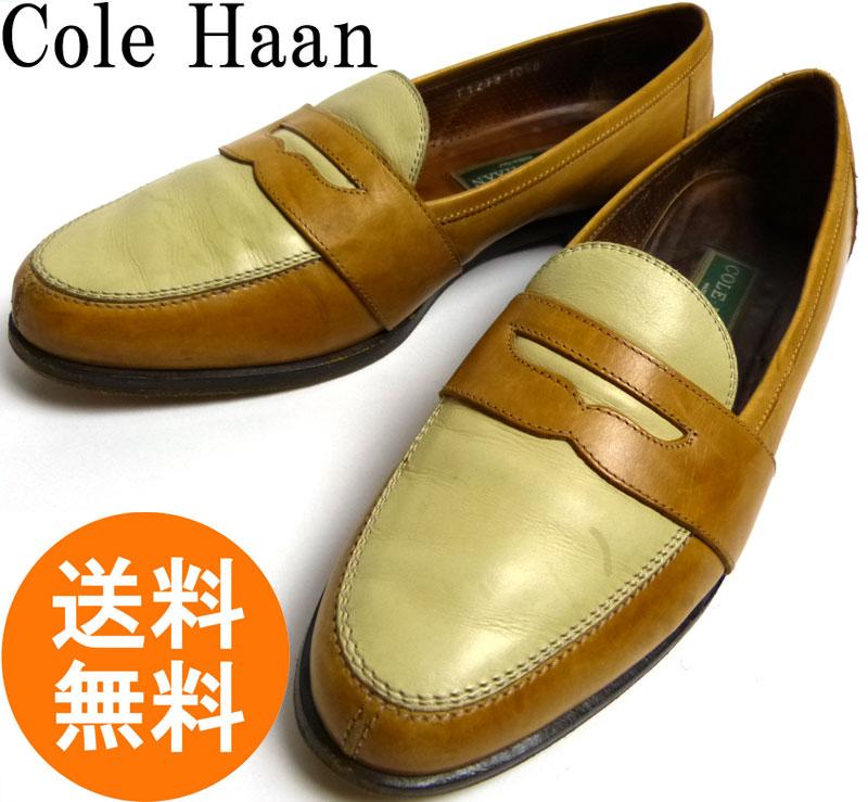 イタリア製 COLE HAAN コールハーン 2トーン レザーローファー 10 1/2B(25.5-26cm相当)(レディース)【中古】