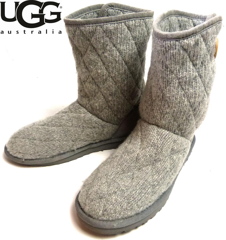 アグ UGG ニットブーツ US7(24cm相当) (レディース)(灰/グレー)【中古】