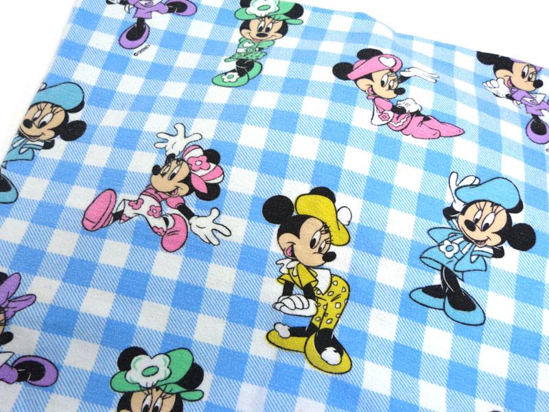 ディズニー ミニーマウス キャラクター ビンテージ ボックスシーツ(220×150cm)【中古】【リメイク生地】