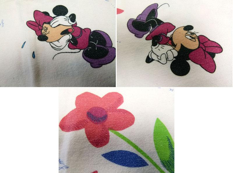 ディズニー ミ二ーマウス キャラクター ビンテージ シーツ(80 ×106cm)/はぎれ【中古】【リメイク生地】【メール便可】