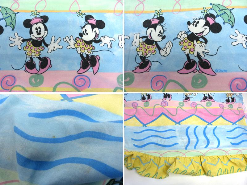 ディズニー ミニーマウス キャラクター ビンテージ フラットシーツ(230×160cm)【中古】【リメイク生地】