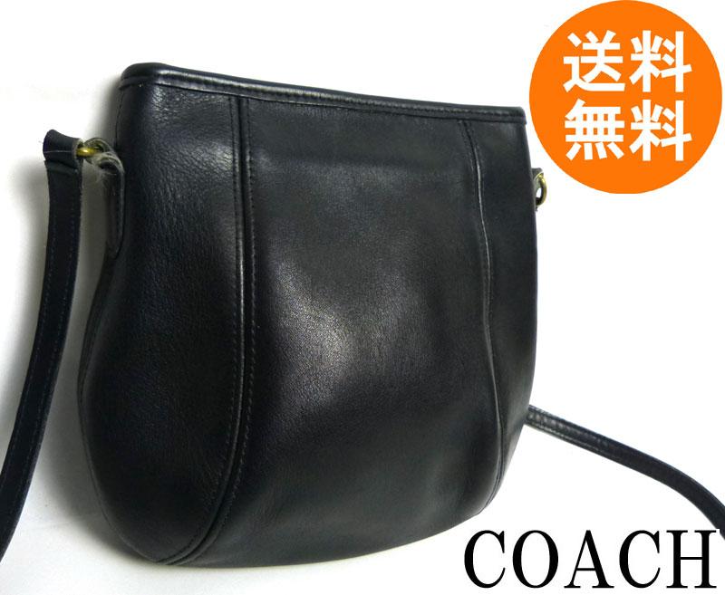 USA製オールドコーチ OLD COACH レザーショルダーバッグ (黒/ブラック)【中古】