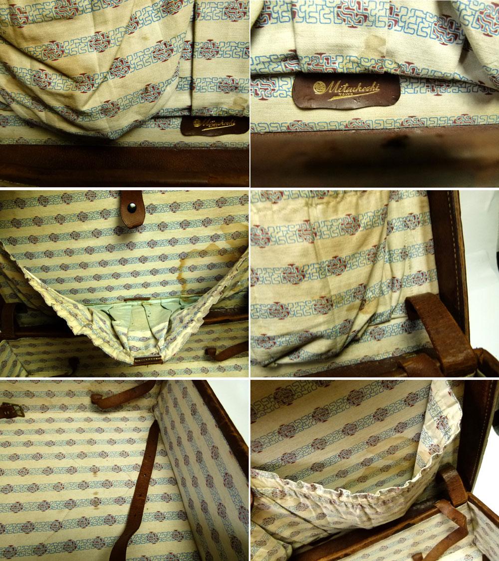 ビンテージ雑貨 レザー トランク オールド スーツケース ミニテーブル【中古】【送料無料】