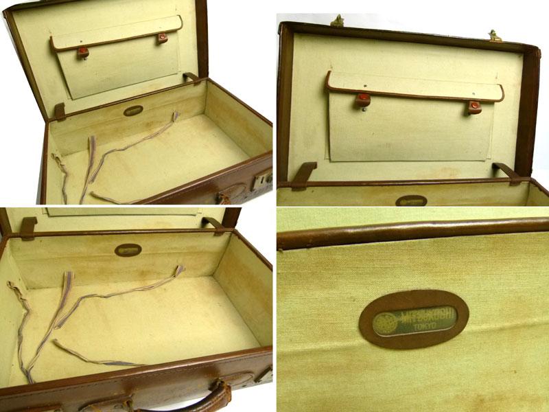 【訳あり】アンティーク トランク オールド レザー スーツケース(茶)【中古】