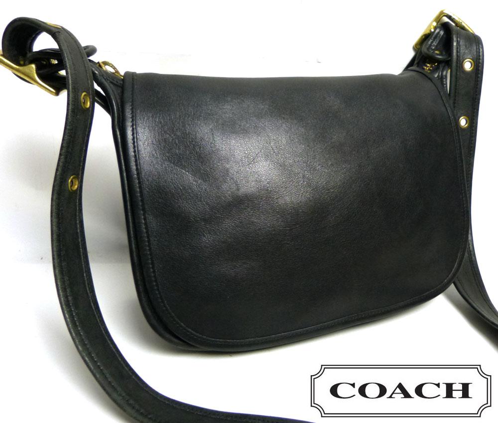 OLD COACH オールドコーチ本革レザー フラップショルダーバッグ (黒/ブラック)【中古】【送料無料】
