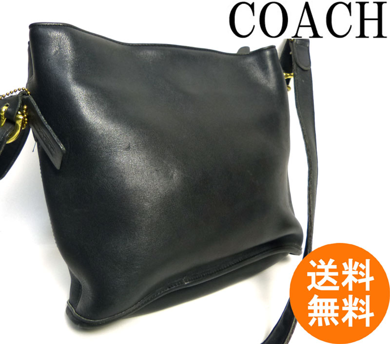 USA製コーチ OLD COACH オールドコーチ 本革レザー ショルダーバッグ(黒/ブラック) 【中古】【送料無料】