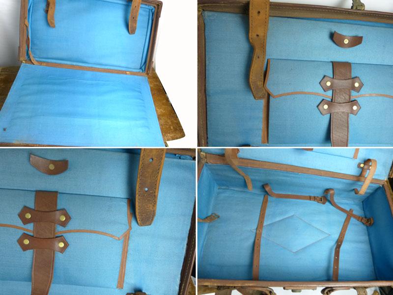 【訳あり】 アンティーク ビンテージ レザートランク オールド スーツケース ウェルカムボード (茶)【中古】