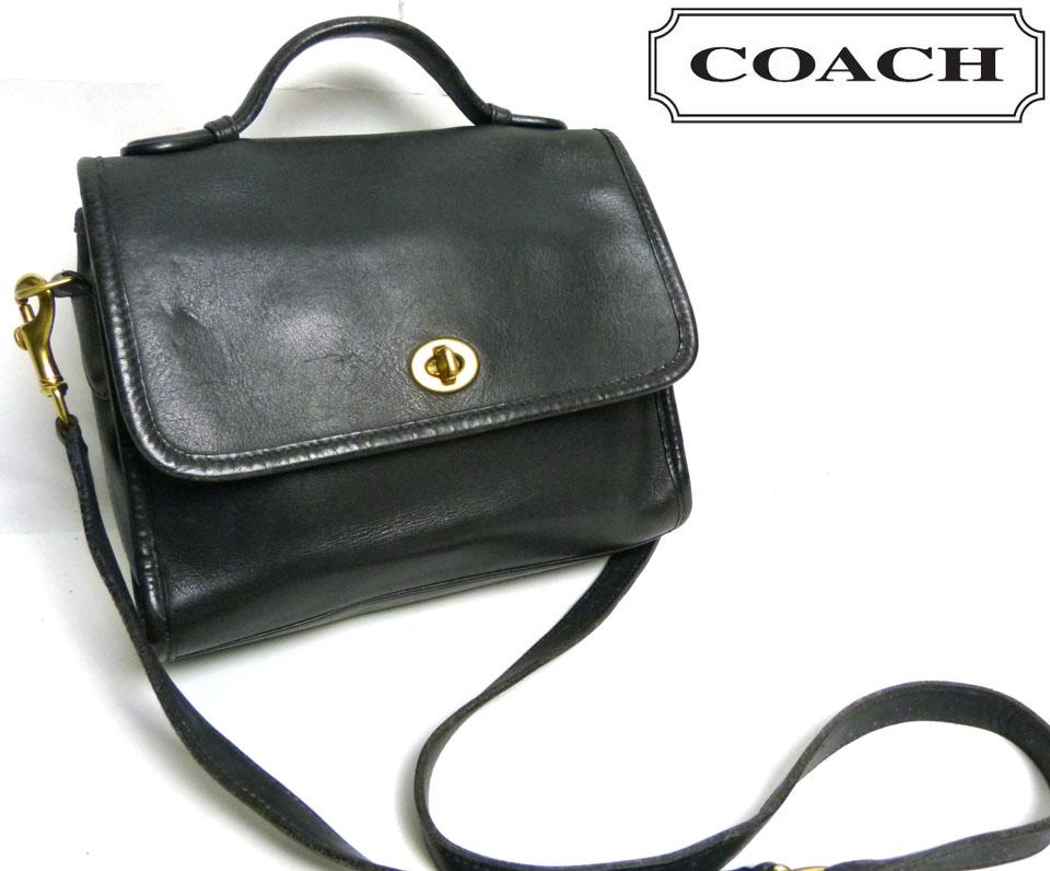 OLD COACH オールドコーチ本革レザー ターンロックショルダーバッグ (黒/ブラック)【中古】【送料無料】