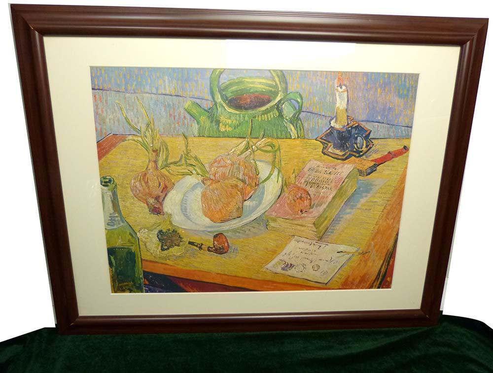フィンセント ファン ゴッホ Vincent Van Gogh  「タマネギの皿のある静物」ポスター 額装 /小全紙判【中古】