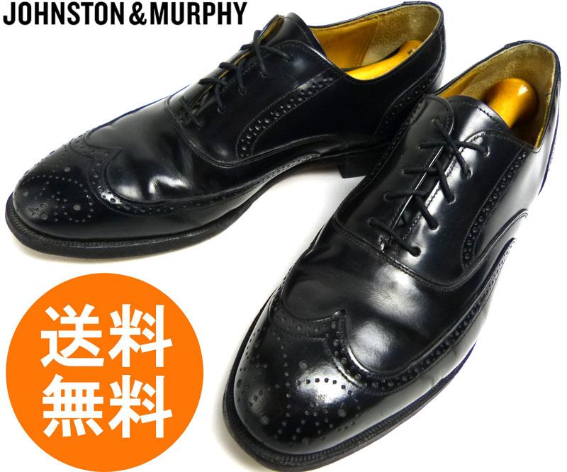 ジョンストン&マーフィー JOHNSTON&MURPHY OPTIMA ウィングチップシューズ 7 1/2D/B(25〜25.5cm相当)(黒 ブラック)(メンズ)【中古】【送料無料】