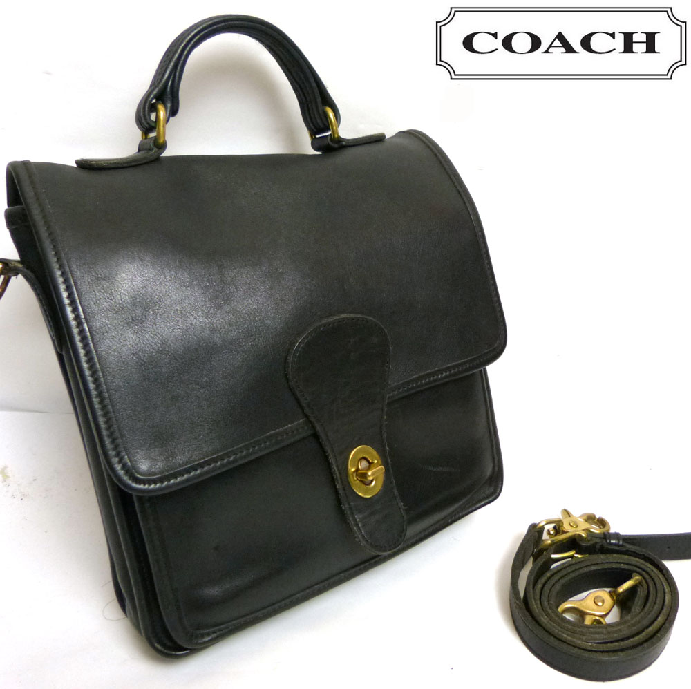 OLD COACH オールドコーチ 2way 本革レザー ショルダーバッグ/ハンドバッグ (黒/ブラック)【中古】