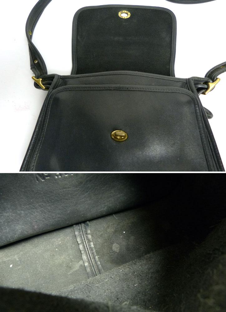 OLD COACH オールドコーチ本革レザー ターンロックショルダーバッグ (黒/ブラック)【中古】