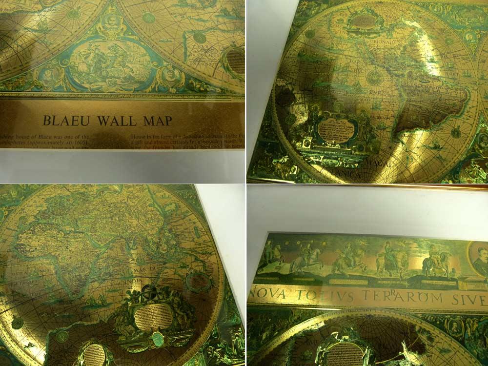 Vintage  Blaeu Wall Map ビンテージウォールマップ アート /  ポスター/ 額装/ 世界地図【中古】