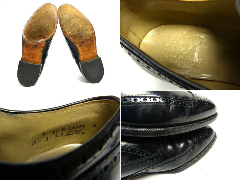 ジョンストン&マーフィー JOHNSTON&MURPHY Heritage ウィングチップシューズ 9D/B(26.5〜27cm相当)(黒 ブラック)(メンズ)【中古】【送料無料】