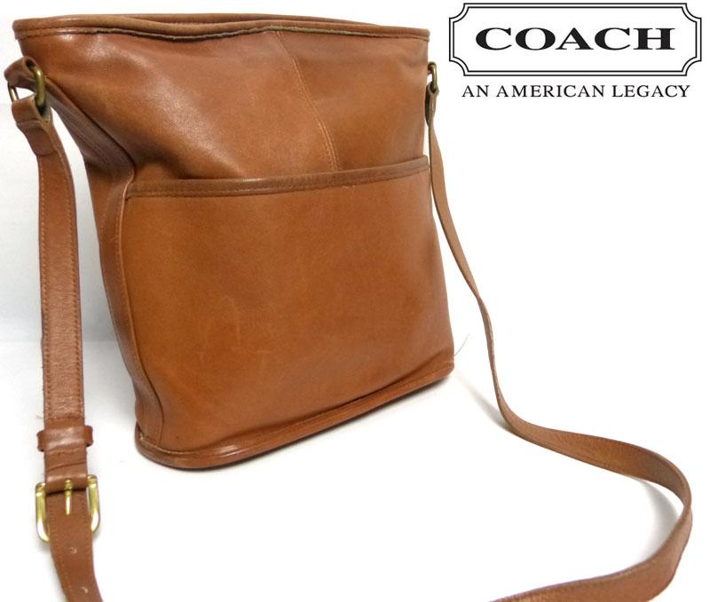 OLD COACH オールドコーチ 本革レザー ショルダーバッグ USA製 (茶/キャメルブラウン)【中古】【送料無料】