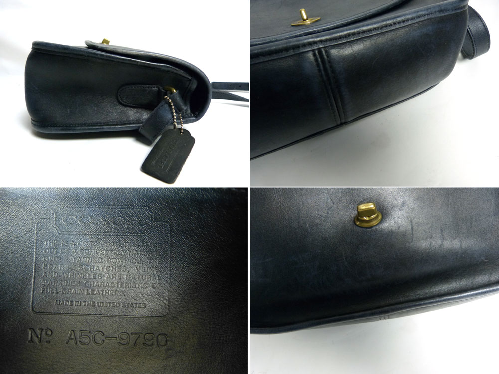 USA製 OLD COACH オールドコーチ本革レザー ターンロックショルダーバッグ (黒/青)【中古】