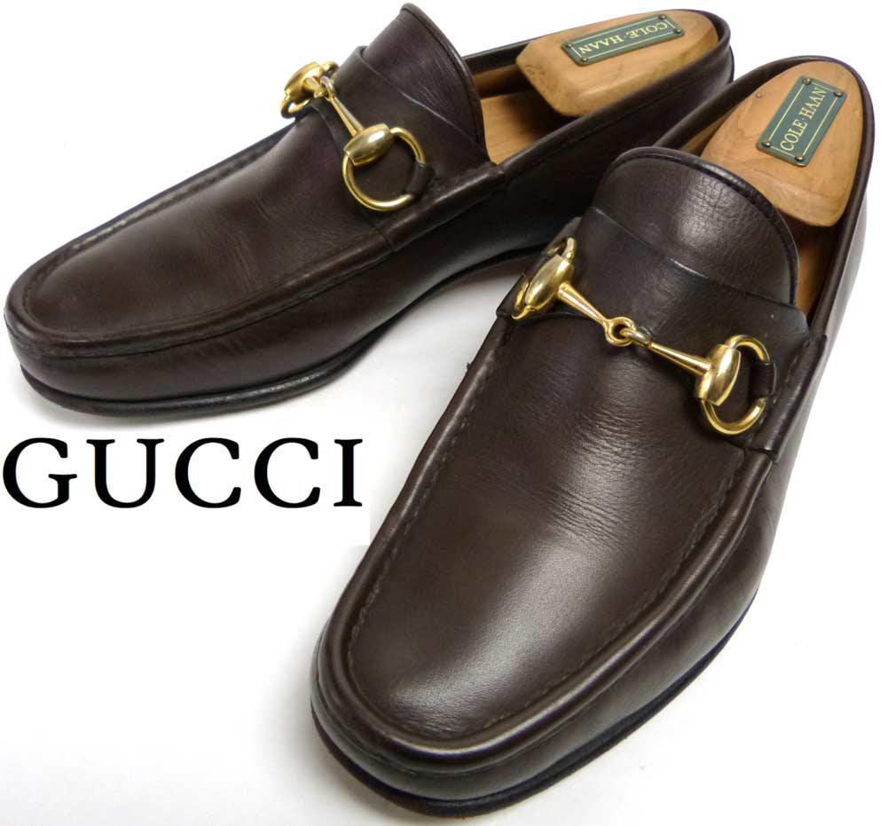 【希少】イタリア製 1960-70s 旧タグ GUCCI オールドグッチ ホースビットローファー 40(25cm相当)(メンズ)【中古】【送料無料】