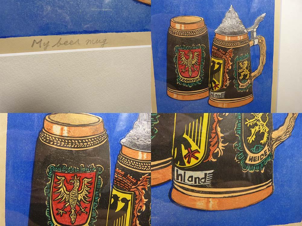 S.Anzai 「My beer mug」木版画 / 直筆サイン入り 【中古】