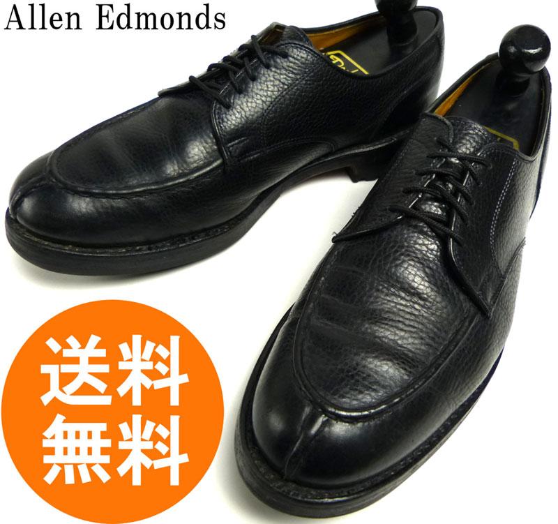 【希少】アレンエドモンズ Allen Edmonds Canton シボ革 Uチップシューズ 9D(27cm相当)(黒/ブラック)(メンズ)【中古】【送料無料】